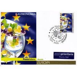 FDC ITALIA 2005 Cartolina Poste Italiane Unif. 2863 Europa - Piatto e calice
