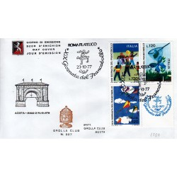 FDC ITALIA 1977 Grolla Club Unif. 1389/1 Giornata del francobollo A/S APG