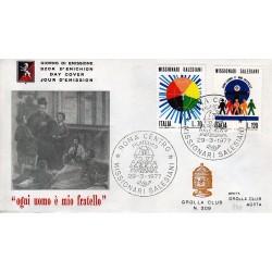 FDC ITALIA 1977 Grolla Club Unif. 1366/7 Missionari Salesiani