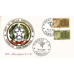 ITALIA 1977 Roma Luxor Unif. 1368/9 Fedeltà Contributiva A/FI