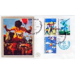FDC ITALIA 1977 Filagrano Gold Unif. 1389/91 Giornata del francobollo AS/Genova