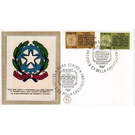 FDC ITALIA 1977 Filagrano Gold Unif. 1368/9 Fedeltà Contributiva A/Speciale