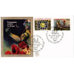 FDC ITALIA 1977 Filagrano Gold Unif. 1363/4 La Droga Uccide A/Speciale