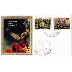 FDC ITALIA 1977 Filagrano Gold Unif. 1363/4 La Droga Uccide A/Caserta