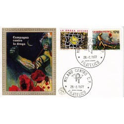 FDC ITALIA 1977 Filagrano Gold Unif. 1363/4 La Droga Uccide A/Milano