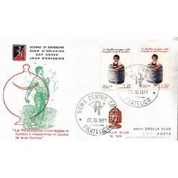 FDC ITALIA 1971 Grolla Club Unif. 1159/60 Risparmio Postale A/Speciale