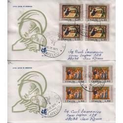 FDC ITALIA 1971 Bucintoro Unif. 1164/5 Natale A/CU Quartina Raccomandate