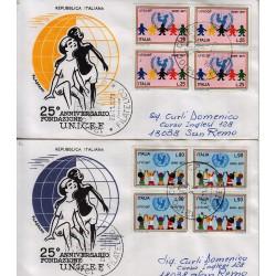 FDC ITALIA 1971 Filagrano Unif. 1161/2 UNICEF A/CU Quartina Racc