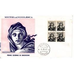 FDC ITALIA 1961 Service Unif. 899 Michelangiolesca Quartina