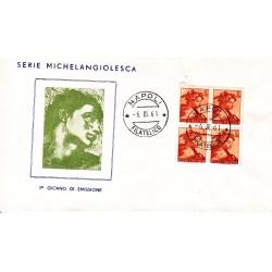 FDC ITALIA 1961 Gu.Sa. Unif. 900 Michelangiolesca £ 5 Quartina