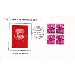 FDC ITALIA 1961 Gu.Sa. Unif. 902 Michelangiolesca £ 15 Quartina