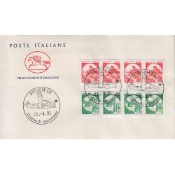 FDC ITALIA 1961 Poste Italiane Unif. 1979/80 Castelli a bobine Quartina