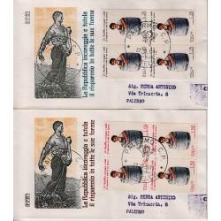 FDC ITALIA 1971 Rodia Unif. 1159/60 Risparmio Postale A/PA Quartina Raccomandata