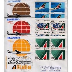 FDC ITALIA 1971 Filagrano Unif. 1155/57 Alitalia A/CU Quartina Raccomandata