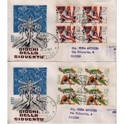 FDC ITALIA 1971 Rodia Unif. 1153/54 Giochi della Gioventù A/PA Quartina Viaggiata