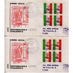 FDC ITALIA 1971 Rodia Unif. 1149/50 Fondazione Repubblica A/PA Quartina Raccomandata