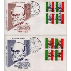 FDC ITALIA 1971 Filagrano Unif. 1149/50 Fondazione Repubblica A/NA Quartina