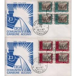 FDC ITALIA 1971 Filagrano Unif. 11445/46 CECA Carbone Acciaio A/NA Quartina