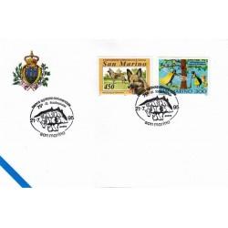 FDC SAN MARINO Marcofilia Annullo Speciale 21/07/1995 banca agricola commerciale 75° di fondazione