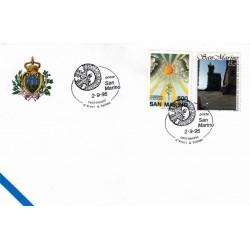 FDC SAN MARINO Marcofilia Annullo Speciale 02/09/1995 centenario d'Yvert & Tellier