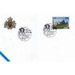 FDC SAN MARINO Marcofilia Annullo Speciale 08/12/1995 CESENA 6° premio di filatelia giovanile MAESTRO GIUNCHI