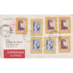 FDC ITALIA 1974 Poste Italiane Cavallino Unif. 1267 Giacomo Puccini qaurtina raccomandata