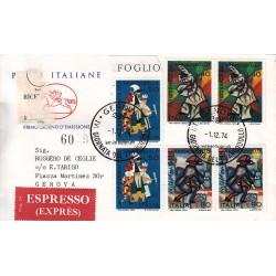 FDC ITALIA 1974 Poste Italiane Cavallino Unif. 1279/81 Giornata francobollo raccomandata