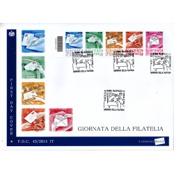 FDC ITALIA 43/2014 Unif. 3599/63 Giornata della filatelia A/S Codice a barre sc