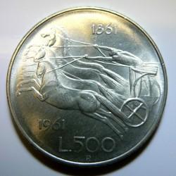 1961 ITALIA MONETA ARGENTO COMMEMORATIVA 500 LIRE
