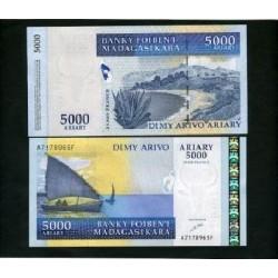 UNICA BANCONOTA FDC MADAGASCAR  ARIARY  5000 FDC