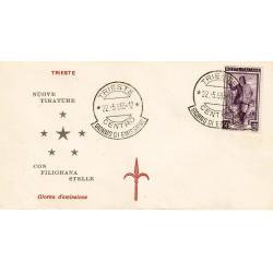 FDC ITALIA 1955 Tergesta Unif. 759 Italia a Lavoro £. 50 Annullo Data Anticipata