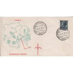 MARCOFILIA ANNULLO SPECIALE Italia 25/06/1955 XXIV Adunata Filatelica Tridentina Trieste