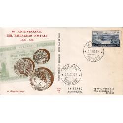 FDC ITALIA 1956 Ala Unif. 808 Risparmio Postale in Italia