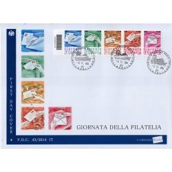 FDC ITALIA 43/2014 Unif. 3599/63 Giornata della filatelia A/Venaria Codice a barre sc