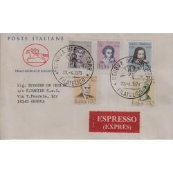 FDC ITALIA 1979 Cavallino Unif. 1455/59 Personaggi Illustri Raccomandata
