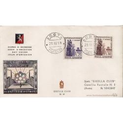 FDC ITALIA 1959 Grolla Unif. 871/2 - Organizzazione Internazionale Lavoro A/S Rm