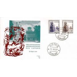 FDC ITALIA 1959 ALA Unif. 871/2 Organizzazione Internazionale del Lavoro