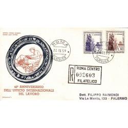 FDC ITALIA 1959 ITALIA Unif. 871/2 Organizzazione Internazionale Lavoro Raccomandata 1