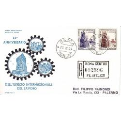 FDC ITALIA 1959 Olimpia Unif. 871/2 Organizzazione Internazionale del Lavoro raccomandata