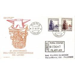 FDC ITALIA 1959 Olimpia Unif. 871/2 Organizzazione Internazionale del Lavoro Racc.