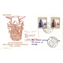 FDC ITALIA 1959 Olimpia Unif. 871/2 Organizzazione Internazionale del Lavoro Raccom.