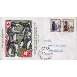 FDC ITALIA 1959 Filagrano Unif. 871/2 Organizzazione Internazionale del Lavoro Viagg.