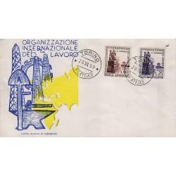 FDC ITALIA 1959 Gu.Sa. Unif. 871/2 Organizzazione Internazionale del Lavoro