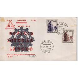 FDC ITALIA 1959 Universal Editrice Unif. 871/2 Organizzazione Internazionale del Lavoro