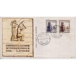 FDC ITALIA 1959 RE.RU. Unif. 871/2 Organizzazione Internazionale del Lavoro