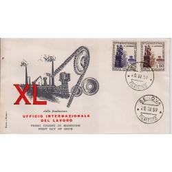 FDC ITALIA 1959 ROMA Unif. 871/2 Organizzazione Internazionale del Lavoro