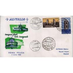 FDC ITALIA 1961 Alitalia 05/04/1960 Volo inaugurale Roma Praga