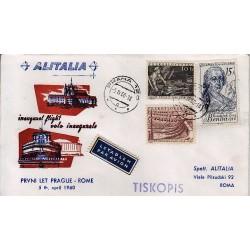 FDC ITALIA 1961 Alitalia 05/04/1960 Volo inaugurale Praga - Roma