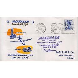 FDC ITALIA 1961 Alitalia 03/05/1960 Volo inaugurale Londra Roma Annullo Speciale