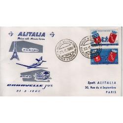 FDC ITALIA 1960 Alitalia 23/05/1960 Volo inaugurale Parigi Roma Annullo Speciale